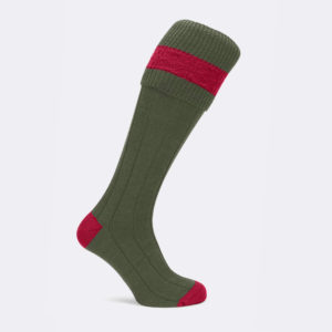 byron shooting sock in olive green and red