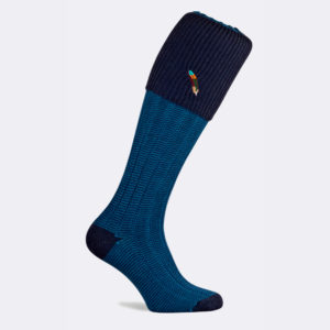 dartmoor shooting sock in mid navy blue