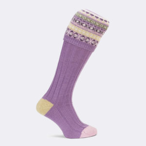 ladies fairisle shooting sock in lilac