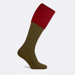 mens defender shooting sock in cherry red and green