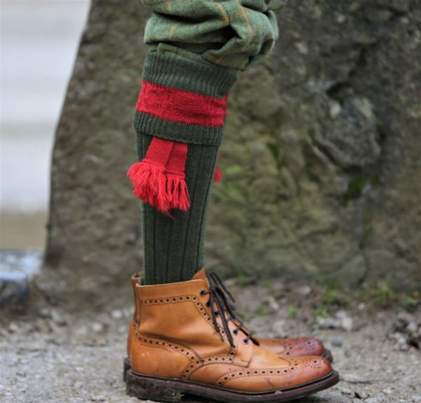 byron shooitng sock in green and red