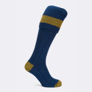 mens byron shooting sock in cobalt and sage