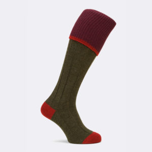 mens tri colour shooting sock in conifer