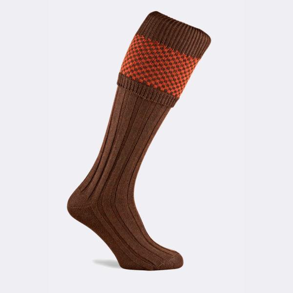 mens penrith shooting socks in spice orange